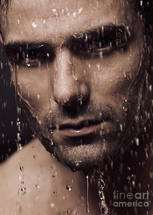 Man Greeting Card featuring the photograph Dramatic Portrait Of Man Face With Water Pouring Over It by Oleksiy Maksymenko