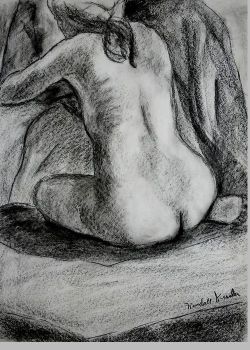 Nude Greeting Card featuring the drawing Drapery Pull by Kendall Kessler