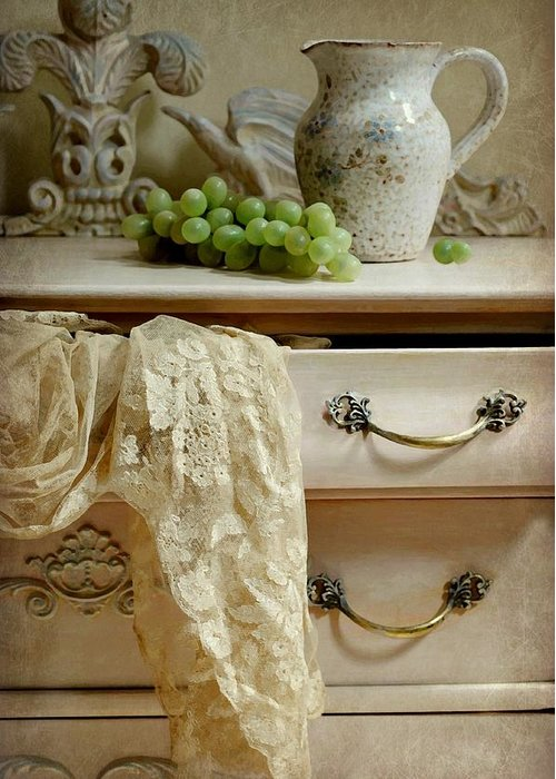 Still Life Greeting Card featuring the photograph Drawer Of Lace by Diana Angstadt