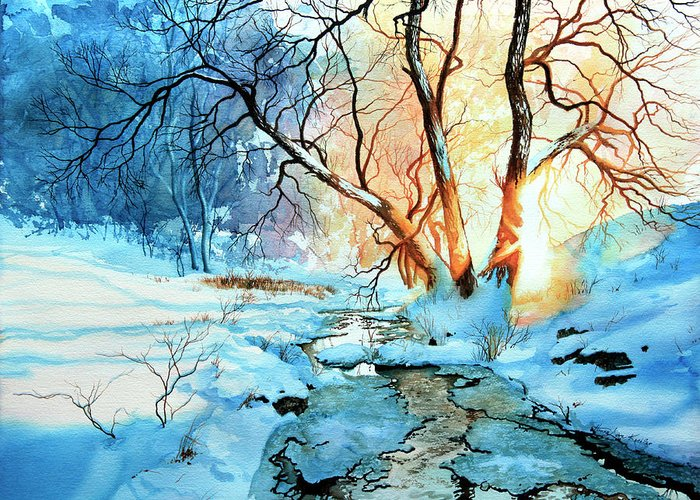 Winter Landscape Art Greeting Card featuring the painting Drawn To The Sun by Hanne Lore Koehler
