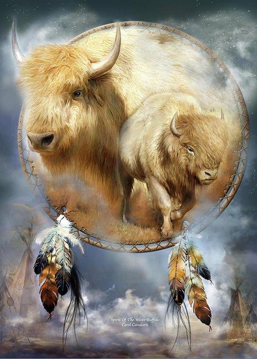 Carol Cavalaris Greeting Card featuring the mixed media Dream Catcher - Spirit Of The White Buffalo by Carol Cavalaris