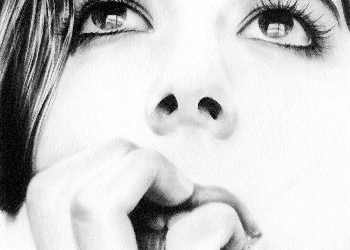 Eyes Like A Windows Greeting Card featuring the drawing Dreamer by Natasha Denger