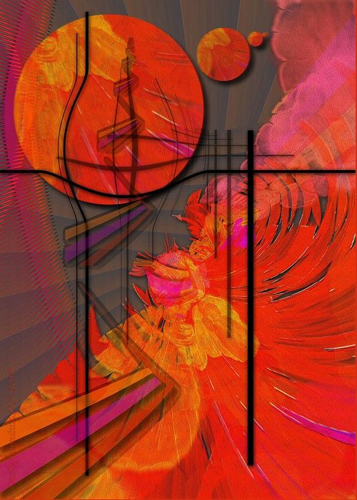 Tangerine Greeting Card featuring the digital art Dreamscape 06 - Tangerine Dream by Mimulux patricia no
