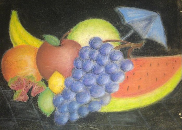 All Fruit Watermelon Greeting Card featuring the pastel Dreamy Fruit by Tracy Lawrence