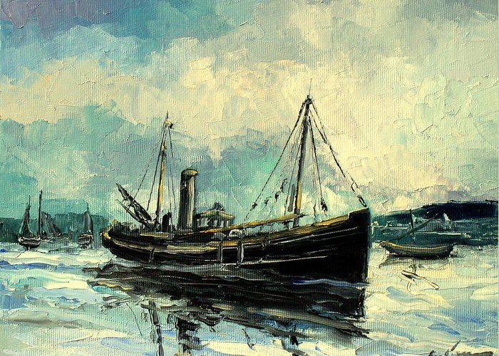 Harbour Greeting Card featuring the painting Drifter by Luke Karcz