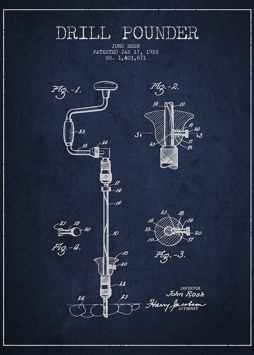 Drill Greeting Card featuring the drawing Drill Pounder Patent Drawing From 1922 by Aged Pixel
