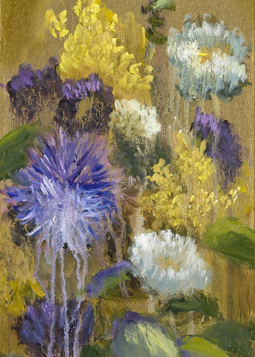 Flower Greeting Card featuring the painting Drippy Bouquet With Gold Leaf By Vic Mastis by Vic Mastis