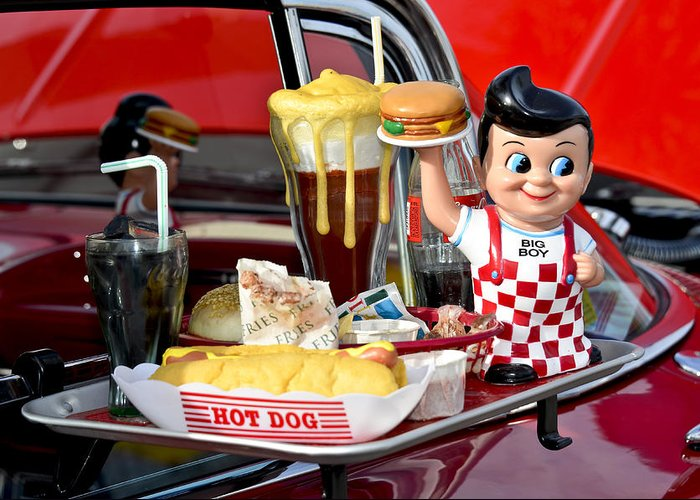 Car Hop Greeting Card featuring the photograph Drive-in Food Classic by Carolyn Marshall