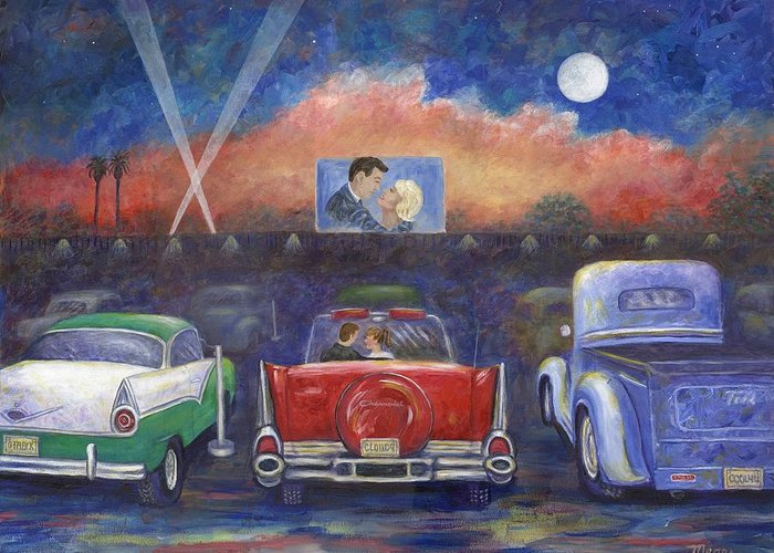 Cars Greeting Card featuring the painting Drive-in Movie Theater by Linda Mears