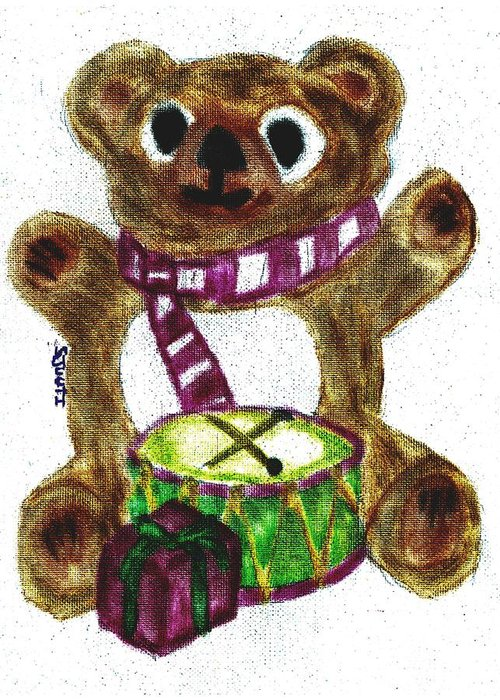 Teddybear Greeting Card featuring the pastel Drummer Teddy by Shaunna Juuti