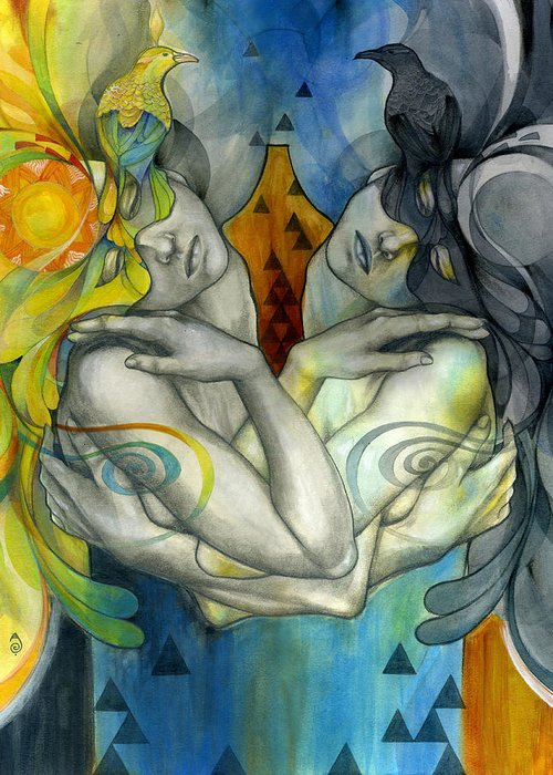 Duality Greeting Card featuring the painting Duality by Patricia Ariel