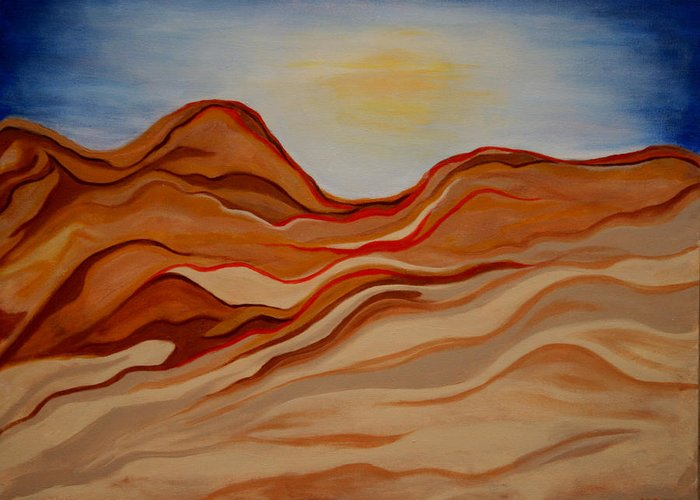 Desert Greeting Card featuring the painting Dubai Desert by Kathy Peltomaa Lewis