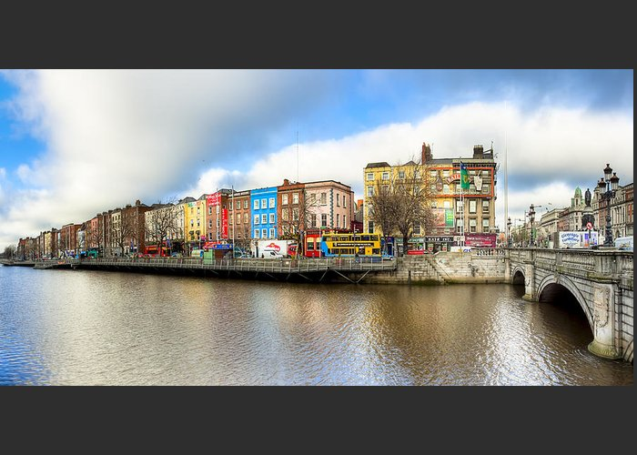 Dublin Greeting Card featuring the photograph Dublin River Liffey Panorama by Mark E Tisdale