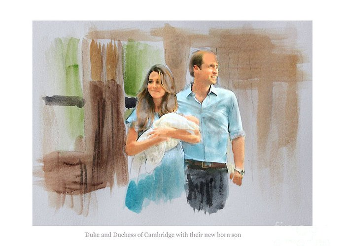 Duke And Duchess Of Cambridge Greeting Card featuring the mixed media Duke And Duchess Of Cambridge With Their New Son by Roger Lighterness