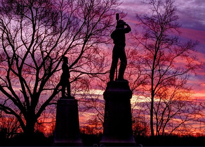 Civil War Greeting Card featuring the photograph Durell's Independent Battery D And 48th Pa Volunteer Infantry-a1 Sunset Antietam by Michael Mazaika