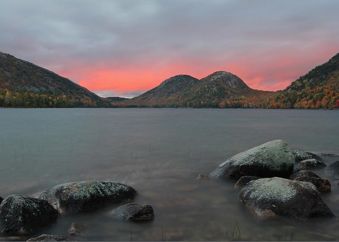 Landscape Greeting Card featuring the photograph Dusk At Jordan Pond And The Bubbles by Juergen Roth