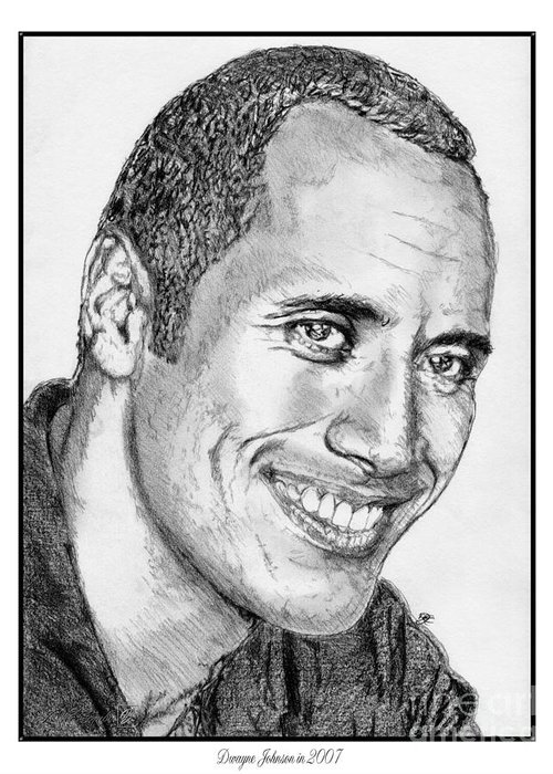 Mccombie Greeting Card featuring the drawing Dwayne Johnson In 2007 by J McCombie