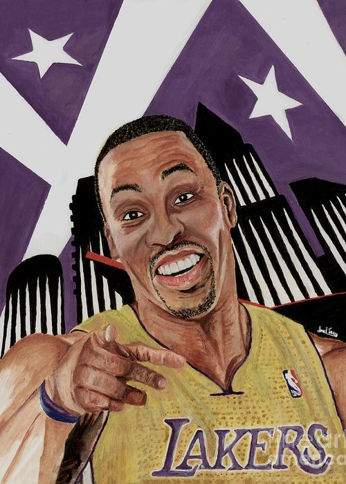 Dwight Howard Lakers Greeting Card featuring the painting Dwight Howard Welcome To The Lake Show by Israel Torres