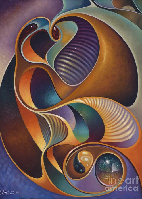 Ying-yang Greeting Card featuring the painting Dynamic Series #23 by Ricardo Chavez-Mendez