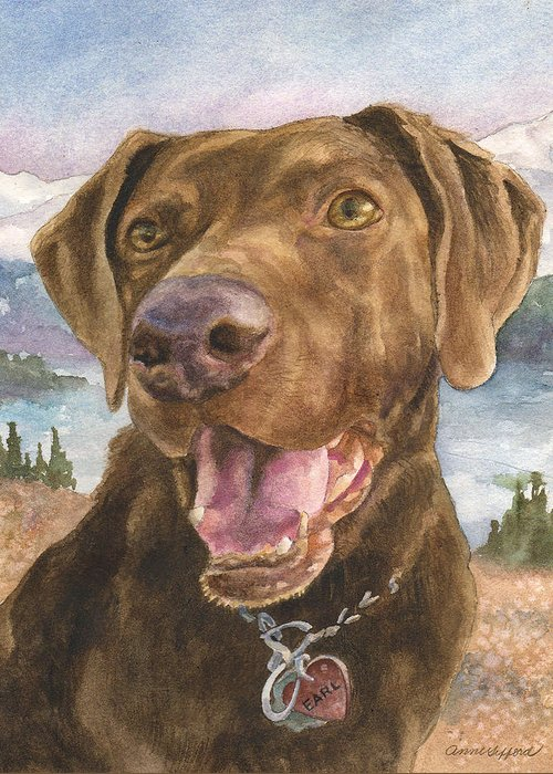 Dog Painting Greeting Card featuring the painting Earl by Anne Gifford