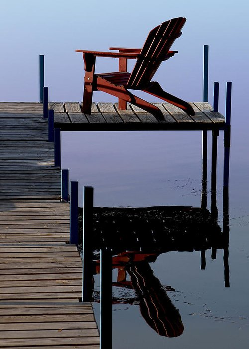 Red Chair Greeting Card featuring the photograph Early Morning Peace by Kathleen Scanlan