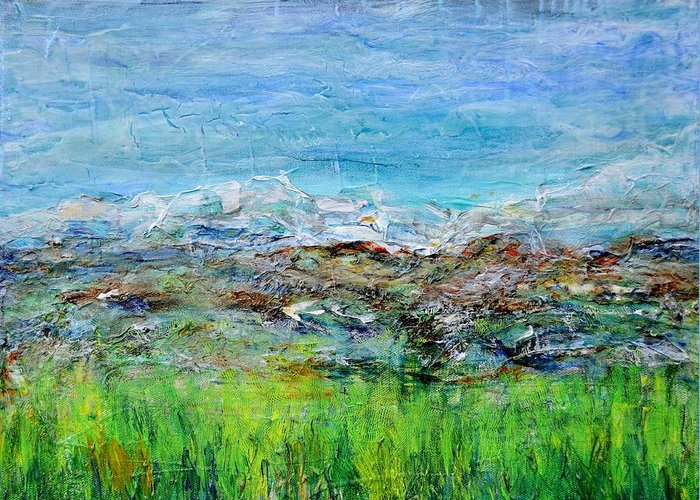 Acrylic Greeting Card featuring the painting Early Spring Range by Regina Valluzzi