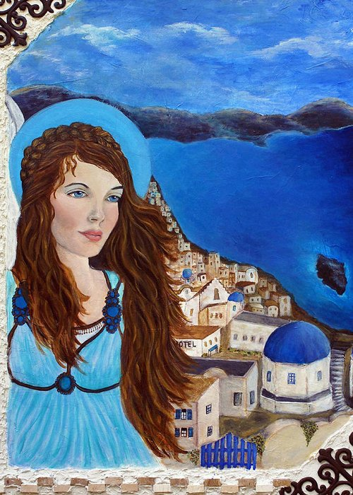 Angel Greeting Card featuring the painting Earthangel Athena by The Art With A Heart By Charlotte Phillips