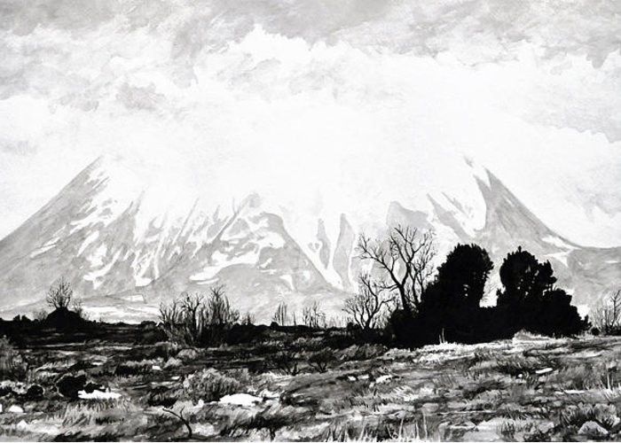 Mountain Greeting Card featuring the painting East Spanish Peak by Aaron Spong