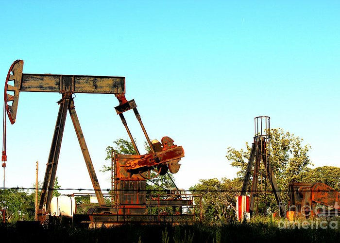 East Texas Oil Field Greeting Card featuring the photograph East Texas Oil Field by Kathy White