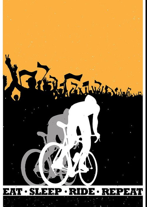 eat Sleep Ride Repeat Greeting Card featuring the painting Eat Sleep Ride Repeat by Sassan Filsoof