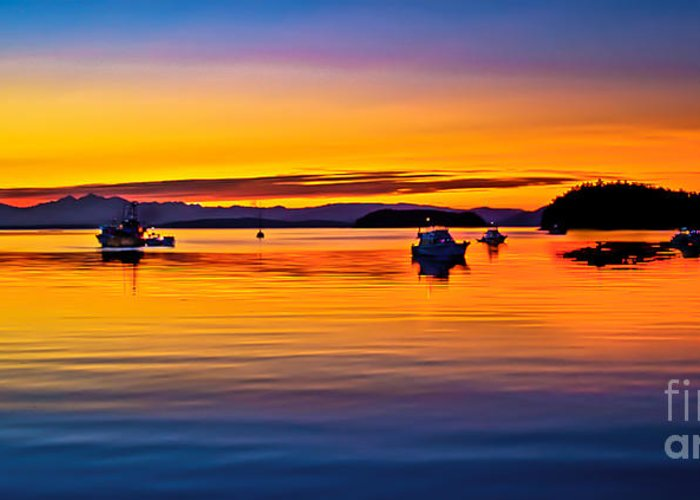 San Juan Island Greeting Card featuring the photograph Echo Bay Sunset by Robert Bales