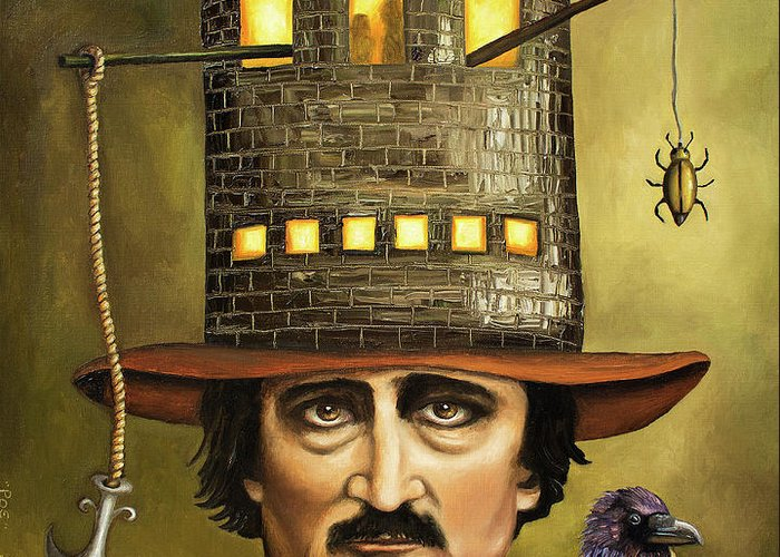 Poe Greeting Card featuring the painting Edgar Allan Poe by Leah Saulnier The Painting Maniac