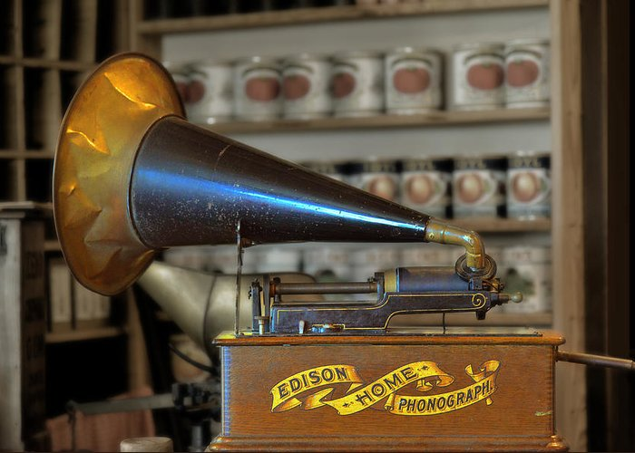 Antique Greeting Card featuring the photograph Edison Home Phonograph With Morning Glory Horn by Christine Till