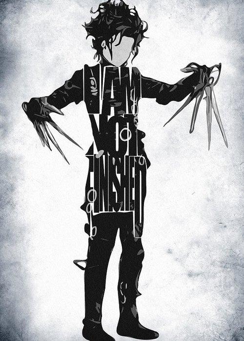 Edward Scissorhands Greeting Card featuring the drawing Edward Scissorhands - Johnny Depp by Ayse Deniz