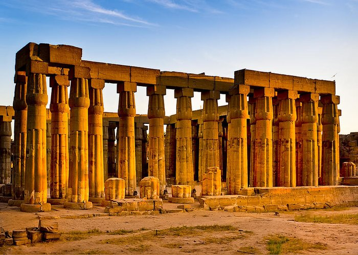 Egyptian Temple Greeting Card featuring the photograph Egyptian Temple Ruins In Luxor by Mark E Tisdale