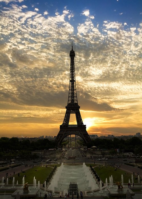 Clouds Greeting Card featuring the photograph Eiffel Tower At Sunset by Debra and Dave Vanderlaan