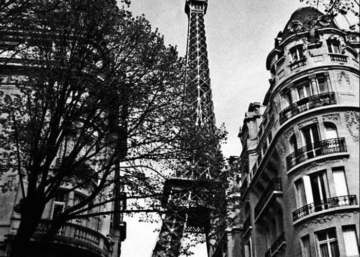 Paris Greeting Card featuring the photograph Eiffel Tower Black And White by Andrew Fare
