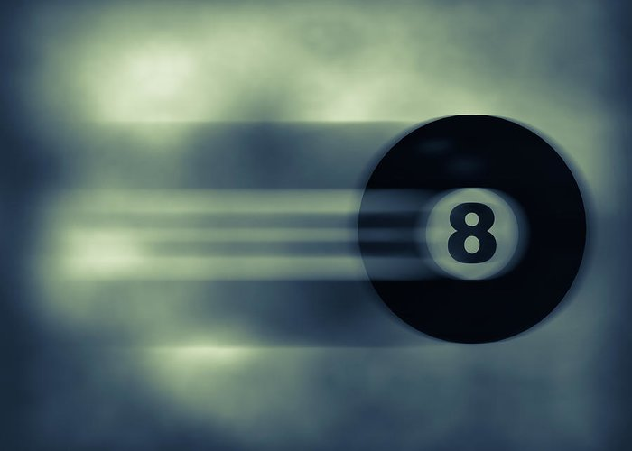 Eight Greeting Card featuring the photograph Eight Ball In Motion by Bob Orsillo