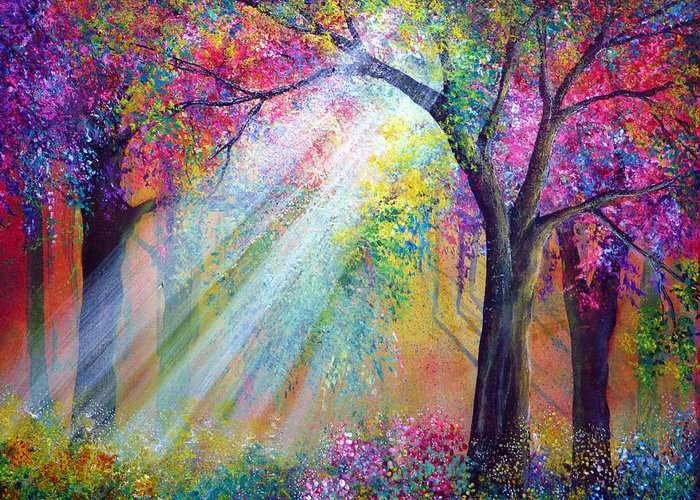 Colorful Vibrant Canvas Bright Raintbow Painted Greeting Card featuring the painting Elation by Ann Marie Bone