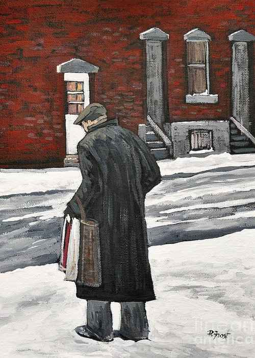 P.s.c. Greeting Card featuring the painting Elderly Gentleman In Pointe St. Charles by Reb Frost
