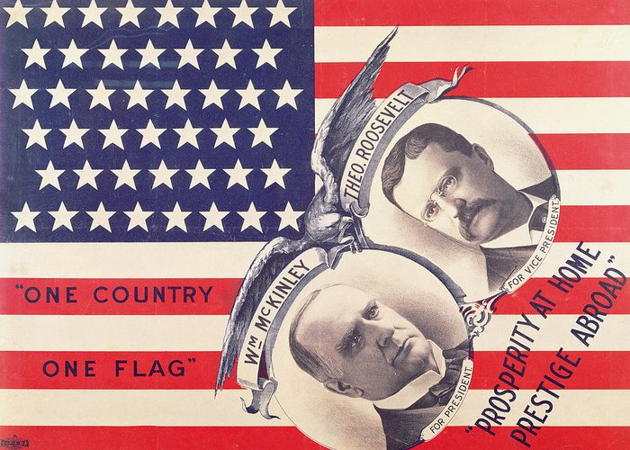 Usa Greeting Card featuring the painting Electoral Poster For The American Presidential Election Of 1900 by American School