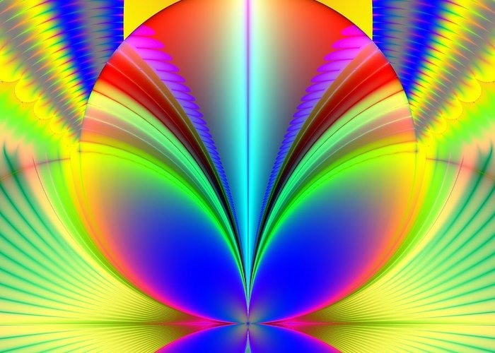Orbs Greeting Card featuring the digital art Electric Rainbow Orb Fractal by Rose Santuci-Sofranko