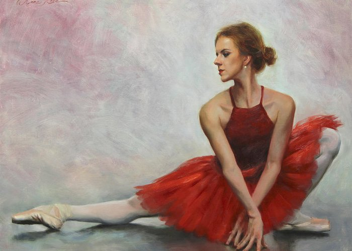 Dance Greeting Card featuring the painting Elegant Lines by Anna Rose Bain