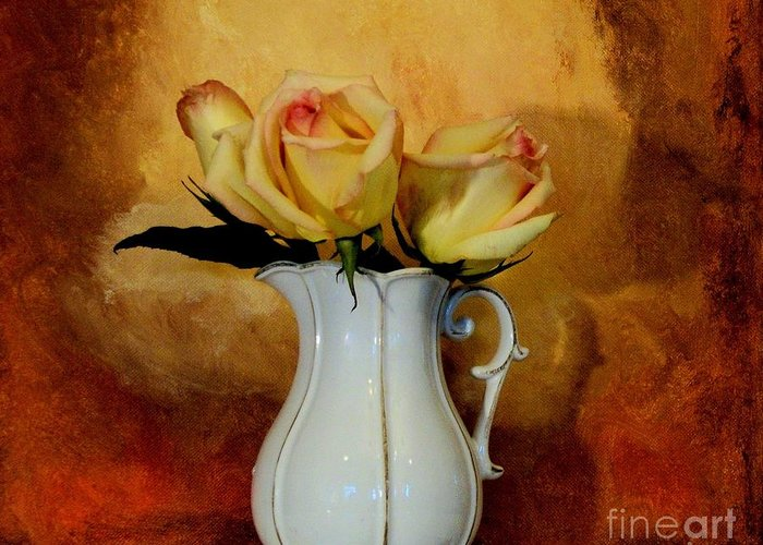 Photo Greeting Card featuring the photograph Elegant Triple Roses by Marsha Heiken