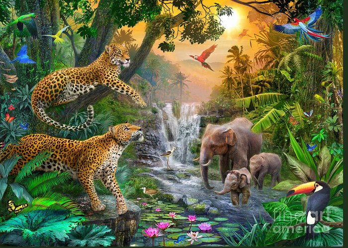Elephant Greeting Card featuring the digital art Elephant Falls by Jan Patrik Krasny