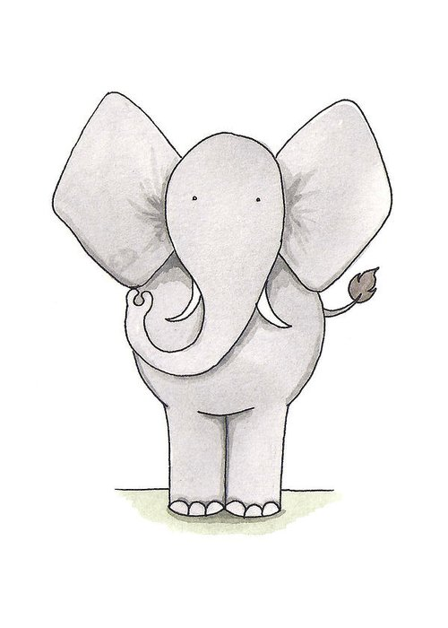 Elephant Greeting Card featuring the painting Elephant Nursery Art by Christy Beckwith