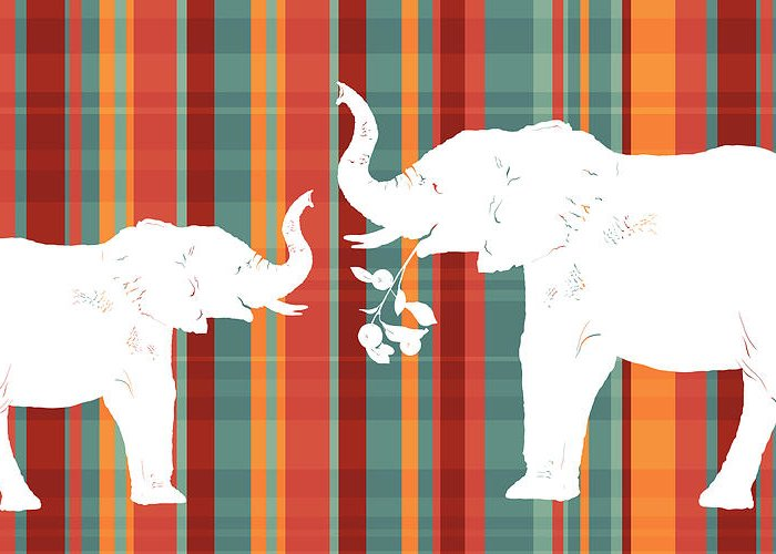 Animals Greeting Card featuring the painting Elephants Share by Alison Schmidt Carson