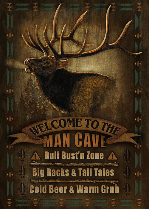 Joe Low Greeting Card featuring the painting Elk Man Cave Sign by JQ Licensing