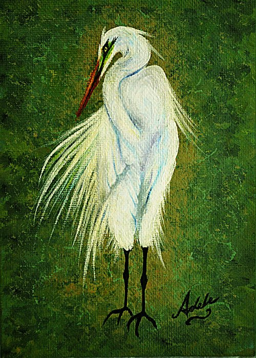 Egret Greeting Card featuring the painting Ellie Egret by Adele Moscaritolo