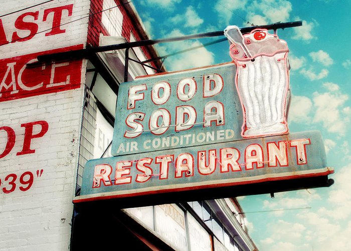 Retro Sign Photography Greeting Card featuring the photograph Elliston Place Soda Shop by Amy Tyler